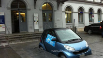 Clever marketing installation sinks a Smart Fortwo into the pavement