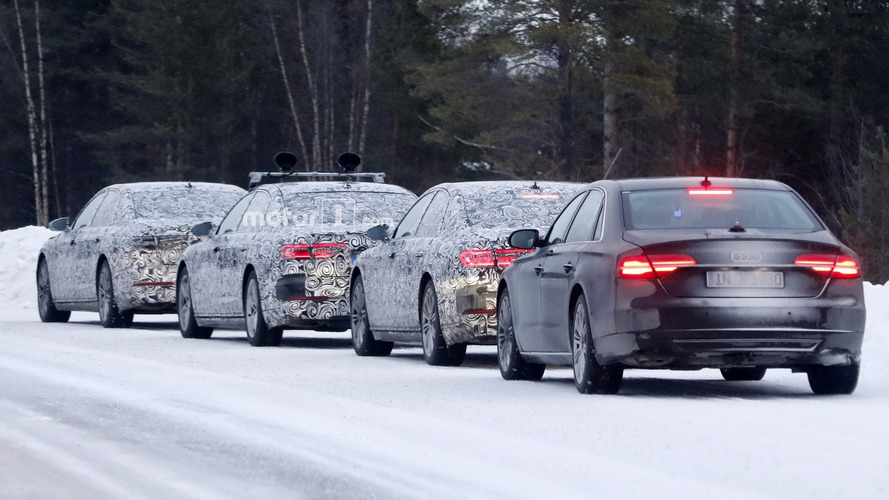 2018 Audi A8 convoy caught winter testing alongside outgoing model