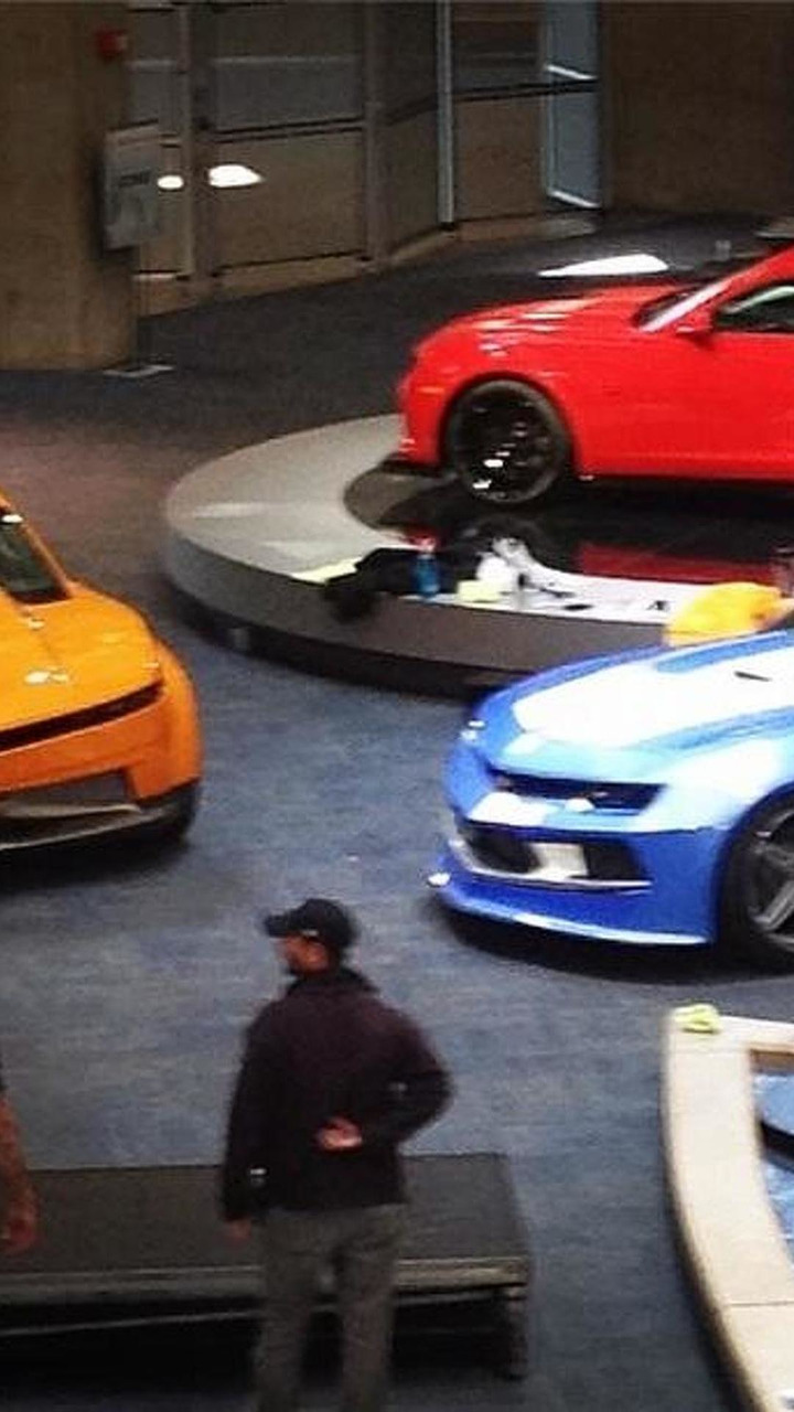 Three unknown Chevrolet Camaros at GM Renaissance Center