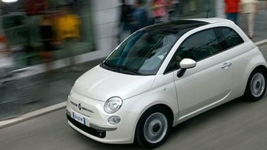 Fiat 500 EV and Lancia Delta with Chrysler Grille headed for Detroit