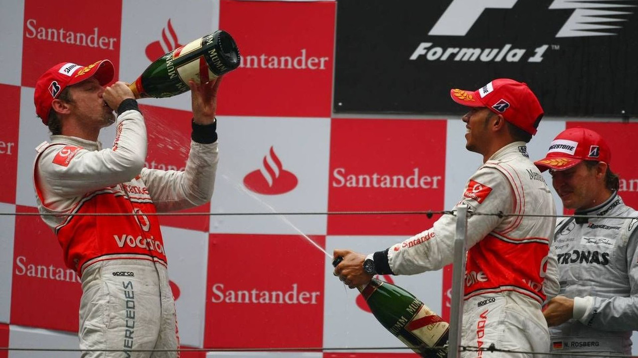 1st place Jenson Button (GBR), 2nd place Lewis Hamilton (GBR), 3rd place Nico Rosberg, Chinese Grand Prix, 18.04.2010 Shanghai, China