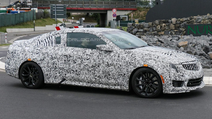 2016 Cadillac ATS-V Coupe spied wearing full-body camo at the 'Ring