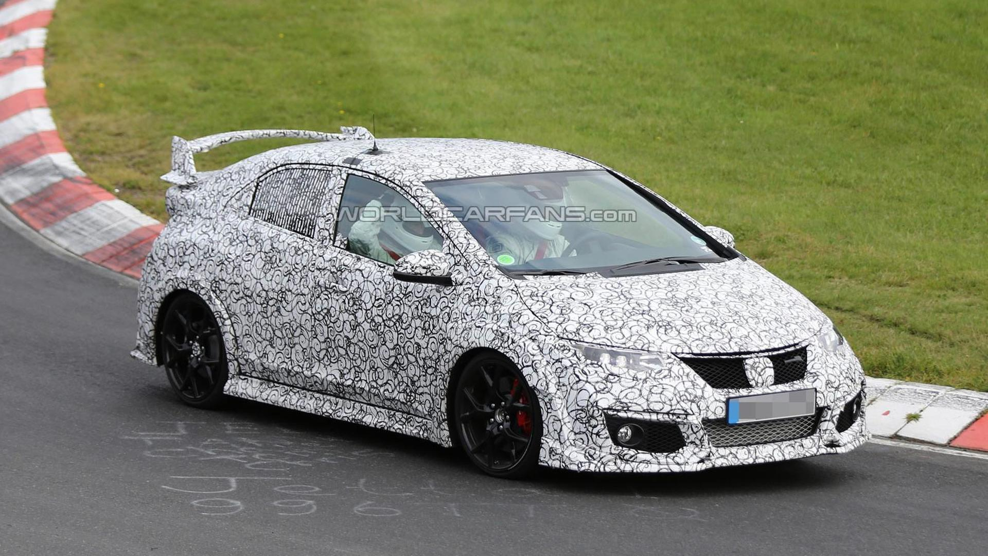 2015 Honda Civic Type R spied hiding production body at the Nurburgring