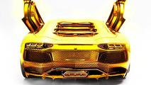 Lamborghini Aventador gold-plated 1:8 scale model 18.09.2013