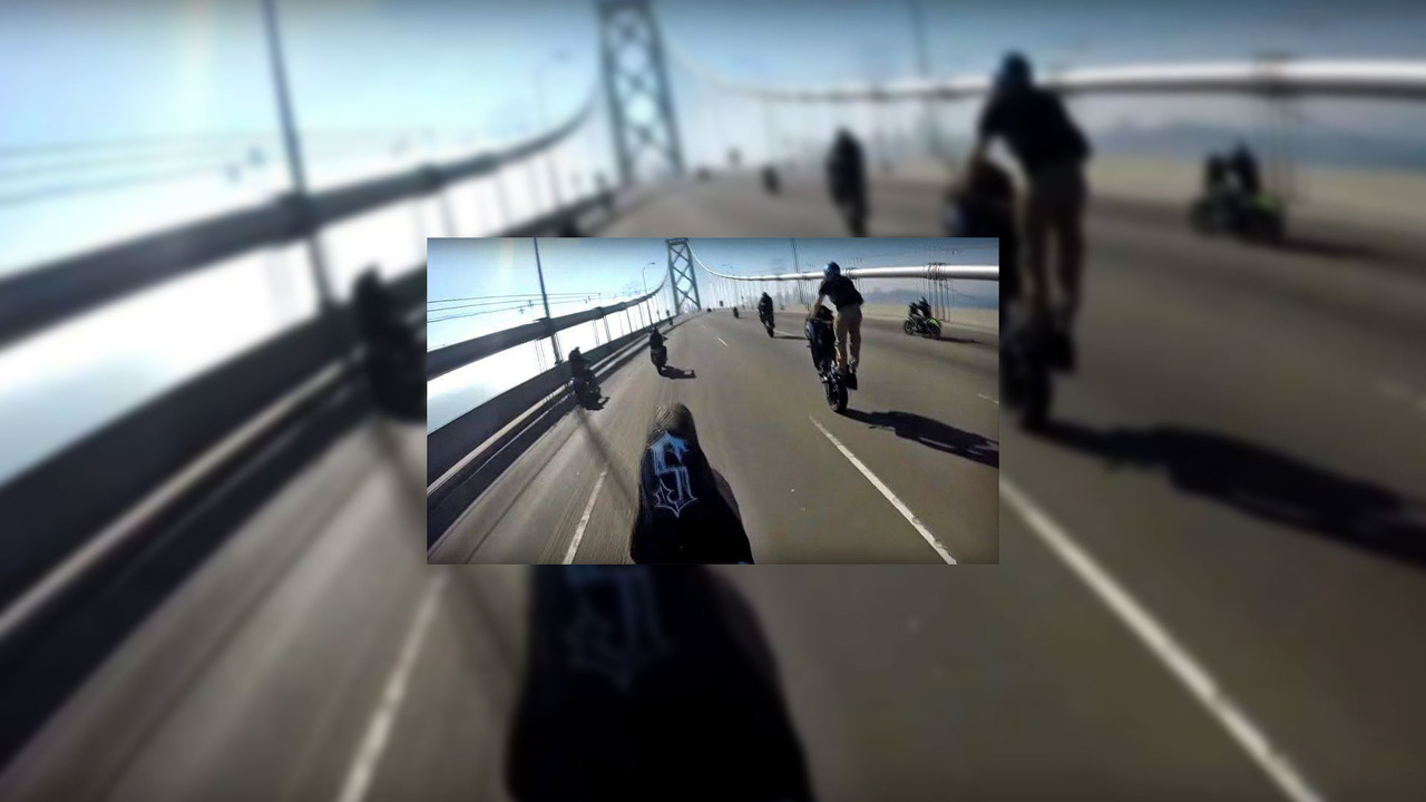 Motorcycle hooligans at Golden Gate bridge