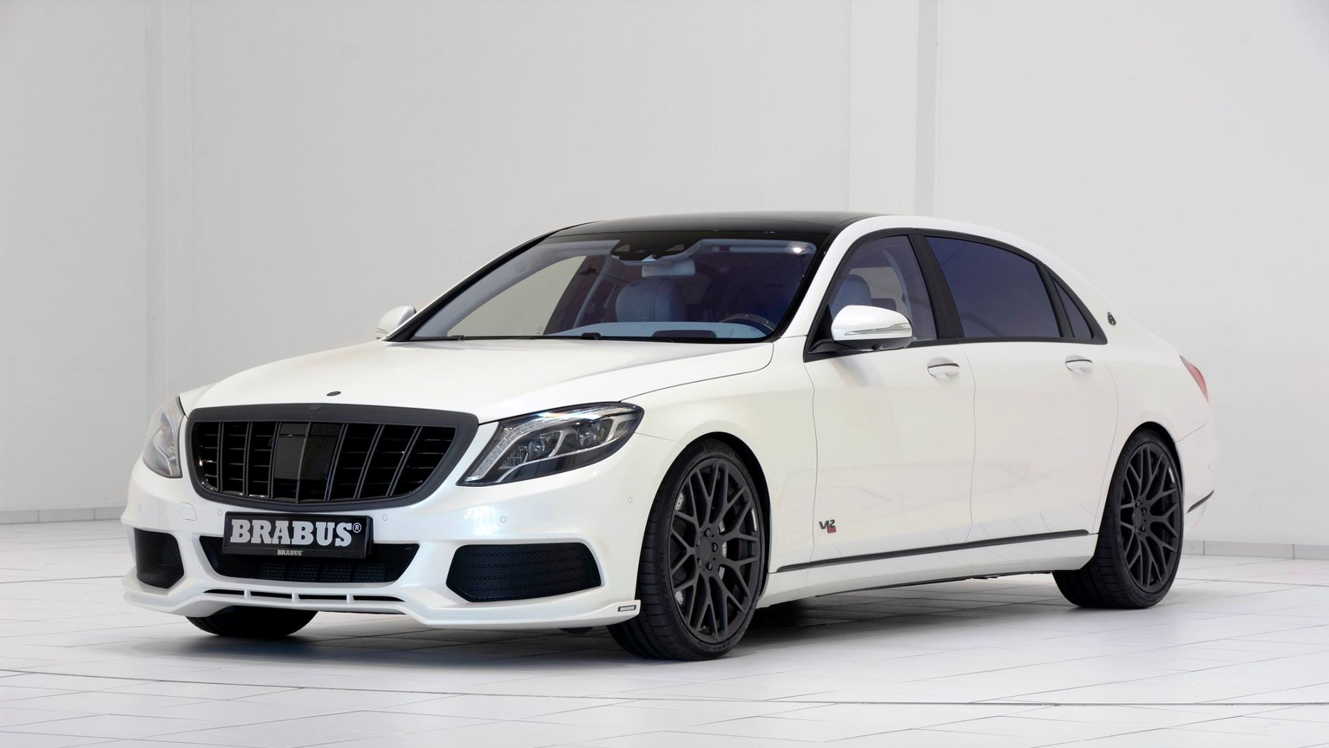 900 HP Brabus Maybach S600 shown in white with blue leather - lovely