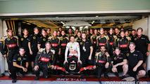 Romain Grosjean, Lotus F1 E23 at a team photograph