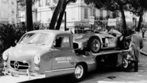 "Grand Prix of Monaco (Europe), 22 May 1955. ""The Blue Wonder"" carrier from Mercedes-Benz with a 300 SLR (W 196 S)"
