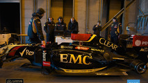 Renault truck jumps Lotus F1 car