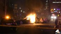 Stolen Tesla Model S crashes, splits into two & bursts into flames