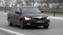 2013 Skoda Superb facelift spied showing minor updates