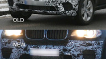 BMW X5 facelift prototype front bumper comparisson