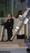 Dr. Folker Weißgerber shows over sized injector