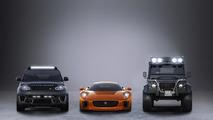 Jaguar C-X75, Range Rover Sport SVR and Land Rover Defender Big Foot starring in SPECTRE