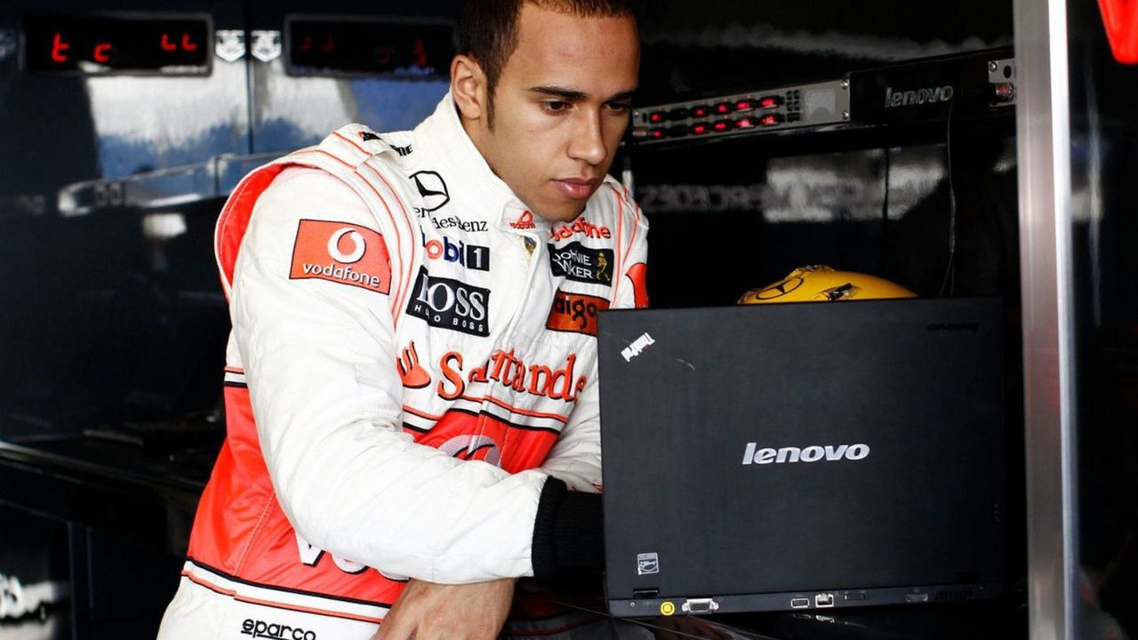 Lewis Hamilton with Lenovo laptop