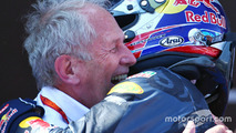Race winner Max Verstappen, Red Bull Racing celebrates with Dr Helmut Marko