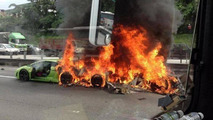 Lamborghini flaming accident in Malaysia