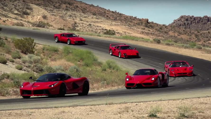 Jay Leno takes five Ferrari flagships to the track
