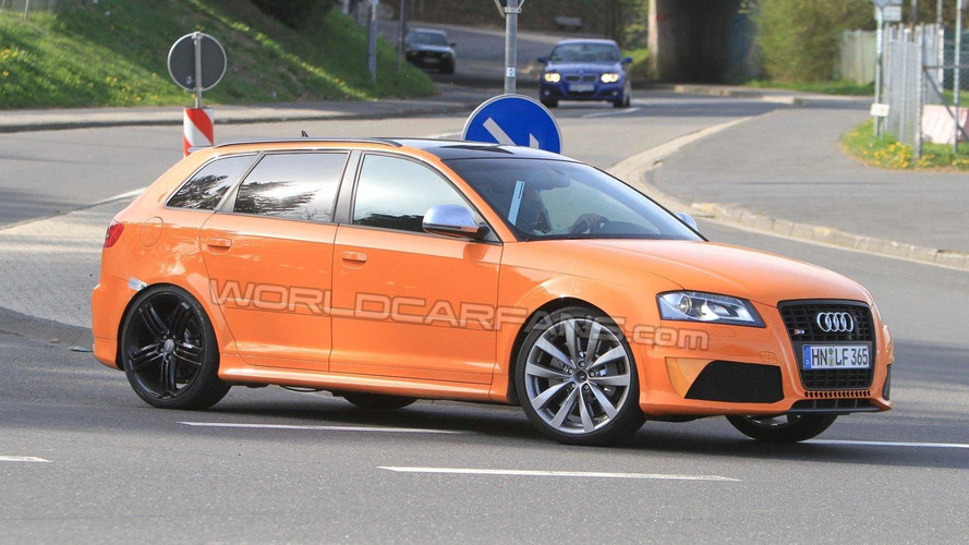 Audi RS3 test mule spy photos at Nurburgring