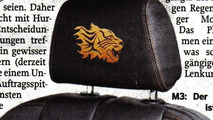 BMW M3 Coupe Tiger Edition headrest teaser, from the Mittelbayerische Newspaper, July 26, 2010 Issue