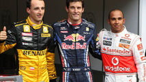 Robert Kubica (POL), Renault F1 Team 3rd place, Mark Webber (AUS), Red Bull Racing, pole position, Lewis Hamilton (GBR), McLaren Mercedes 2nd place - Formula 1 World Championship, Rd 13, Belgium Grand Prix, Saturday Qualifying, 28.08.2010 Spa, Belgium