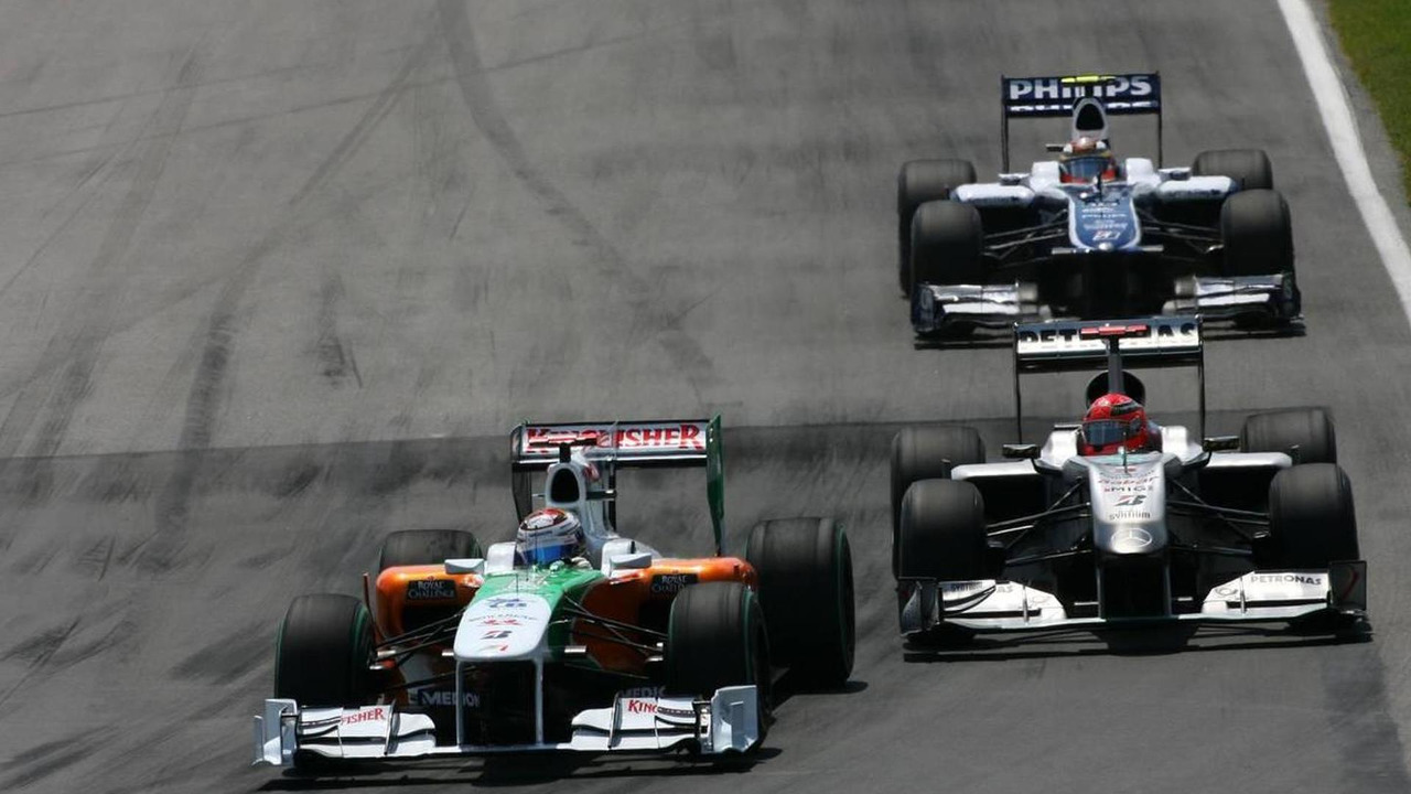 Adrian Sutil (GER), Force India F1 Team, Michael Schumacher (GER), Mercedes GP and Nico Hulkenberg (GER), Williams F1 Team - Formula 1 World Championship, Rd 8, Canadian Grand Prix, 13.06.2010 Montreal, Canada