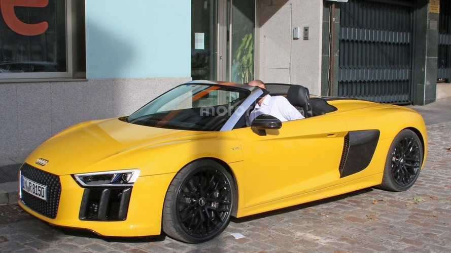 2017 Audi R8 Spyder Vegas Yellow poses for the camera