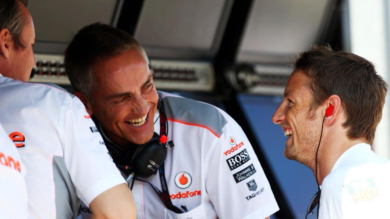 Sam Michael with Martin Whitmarsh and Jenson Button 26.07.2013 Hungarian Grand Prix