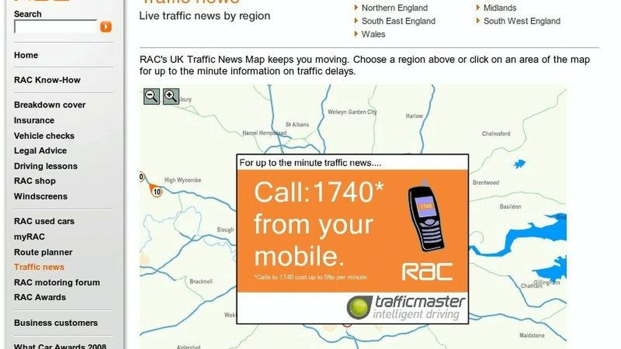 RAC: 'Texting Whilst Driving Not Safe' - Shows Mobile Traffic Alert Ads on Web Site