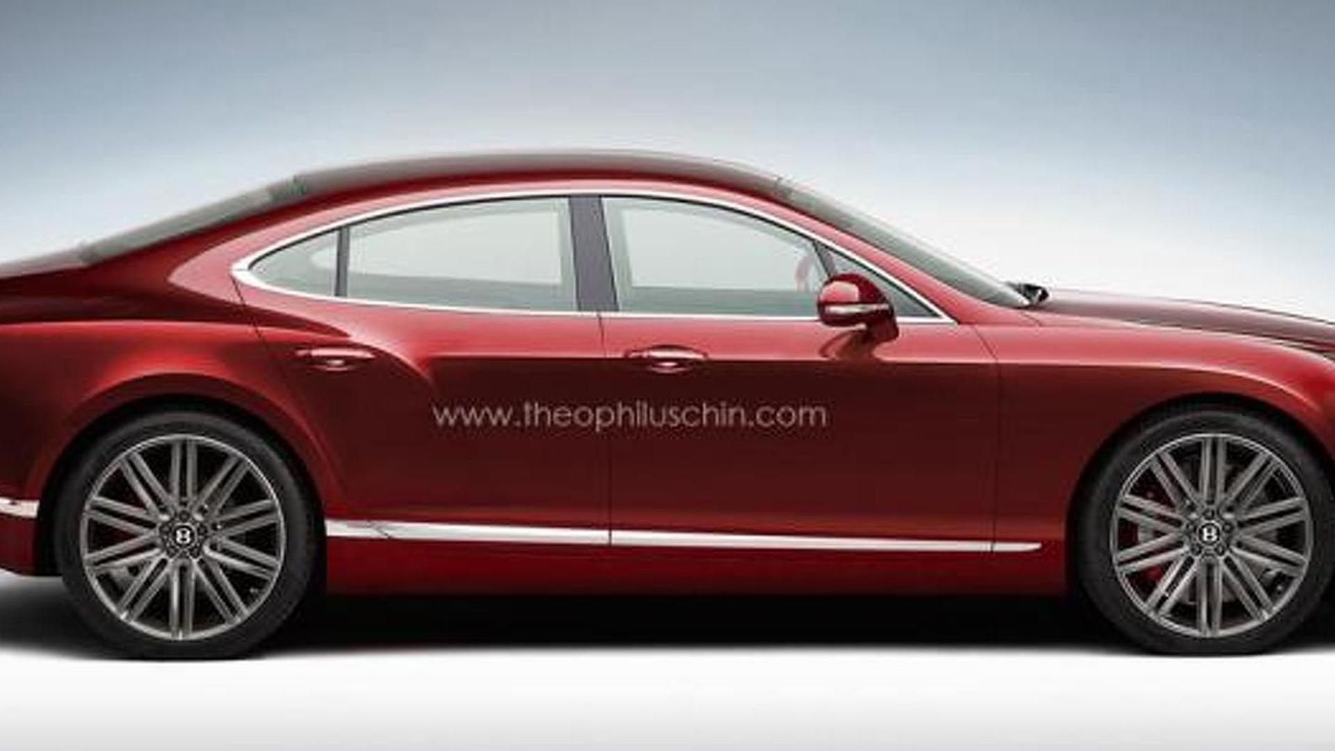 Bentley four-door coupe speculatively rendered