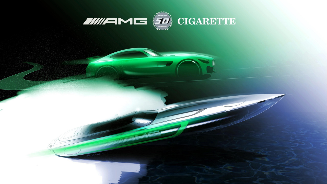 Cigarette Racing boat inspired by Mercedes-AMG GT R