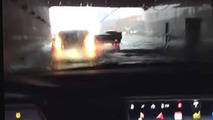 Tesla Model S converts to motor boat in a flooded tunel