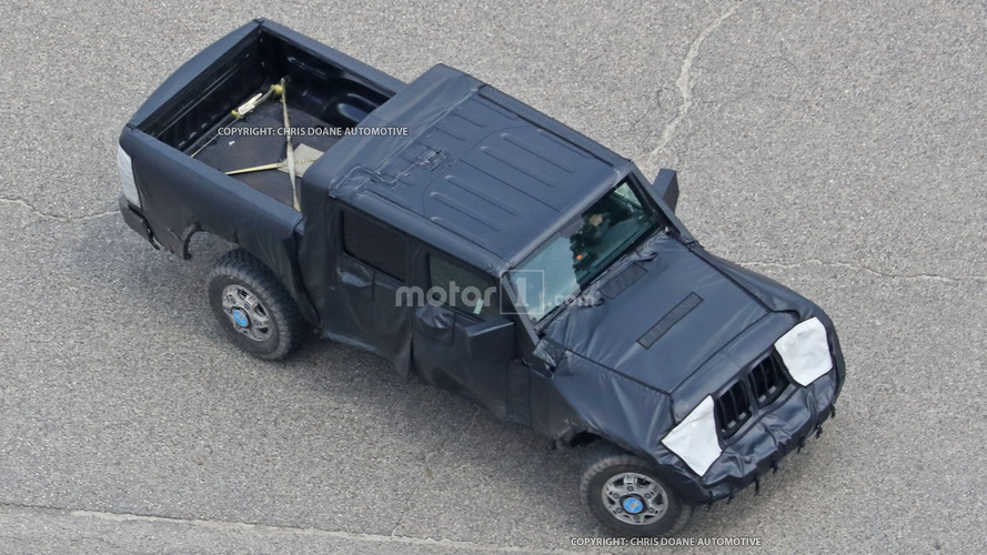 Jeep Wrangler pickup spied from a bird's-eye view