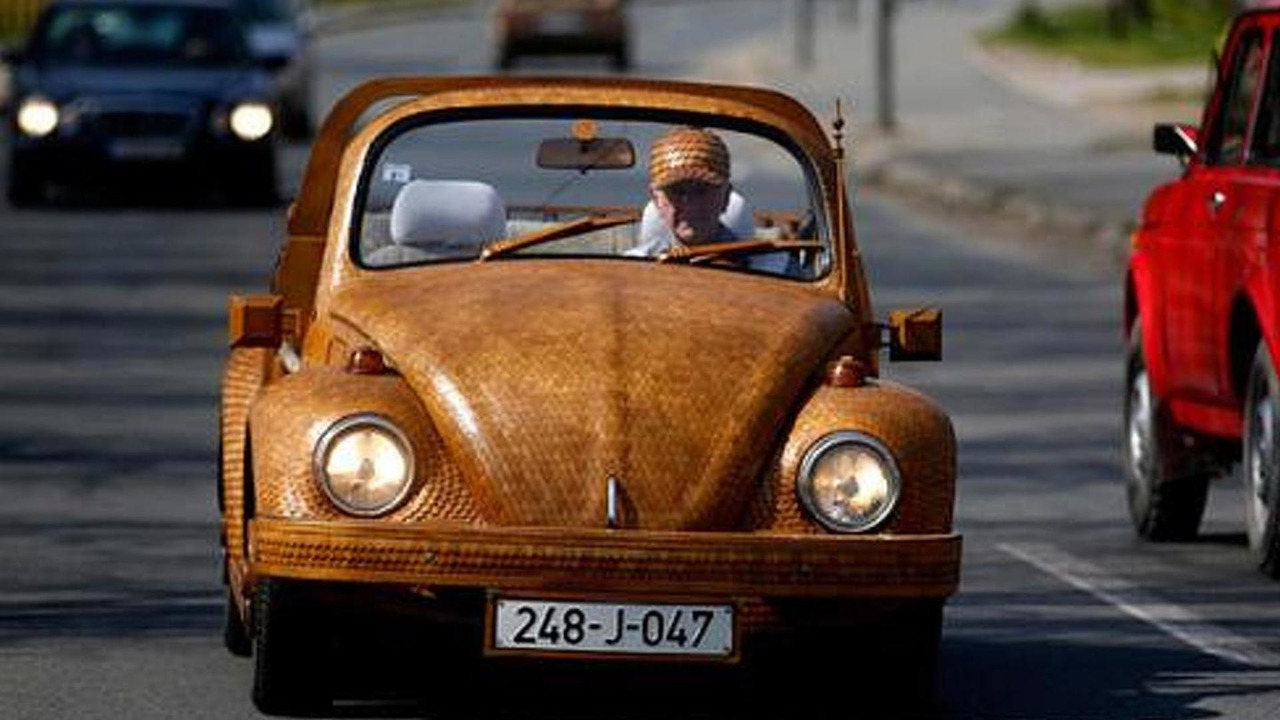 Volkswagen Beetle covered in oak