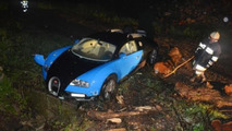 Bugatti Veyron driver loses control, flies off the highway