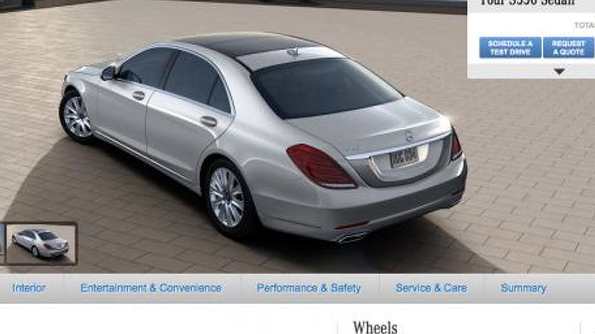 2014 Mercedes-Benz S-Class configurator now live