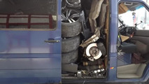 Stolen BMW X6 inside Volkswagen LT panel van