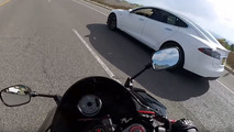 A 600cc sport bike can't beat a Tesla in a drag race