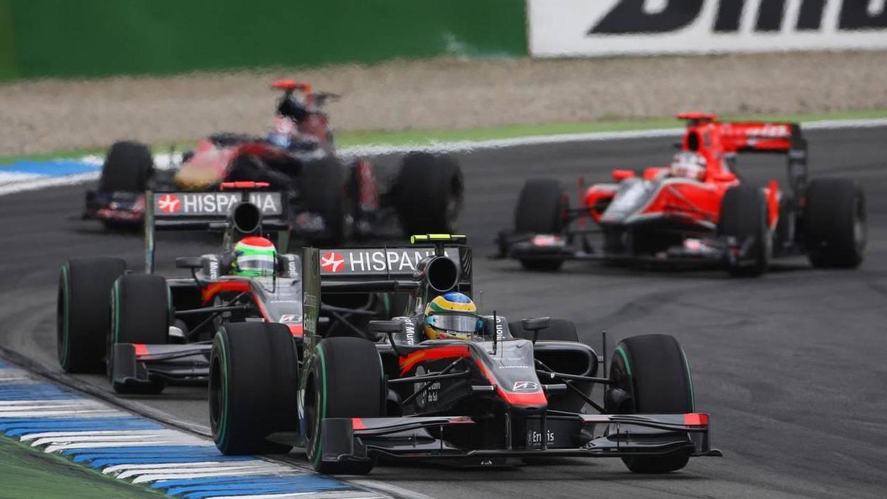 Bruno Senna (BRA), Hispania Racing F1 Team, HRT leads Sakon Yamamoto (JPN), Hispania Racing F1 Team HRT, German Grand Prix, 25.07.2010 Hockenheim, Germany