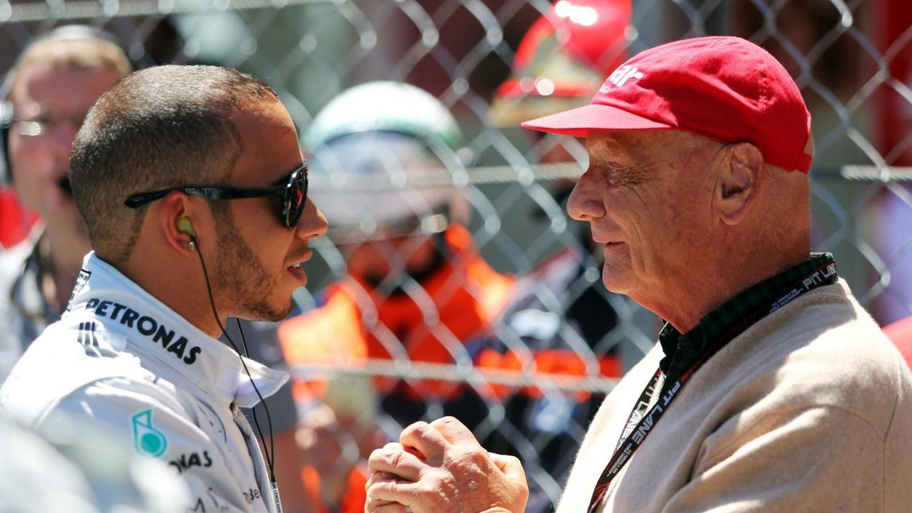 Lewis Hamilton, Mercedes AMG F1 with Niki Lauda, Mercedes Non-Executive Chairman