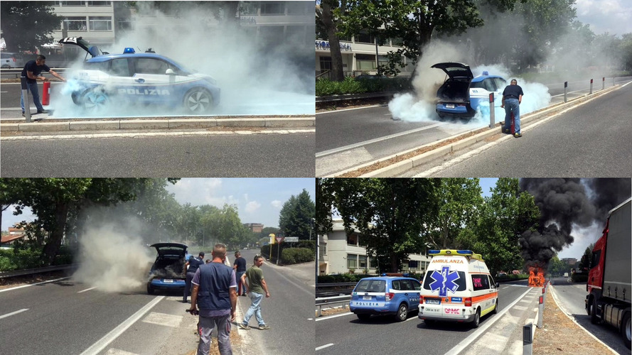 The Roman police's BMW i3 goes up in smoke