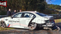BMW M5 Ring Taxi crashes at work