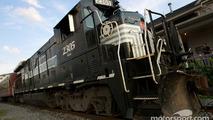 A train tours around Watkins Glen and Seneca Lake