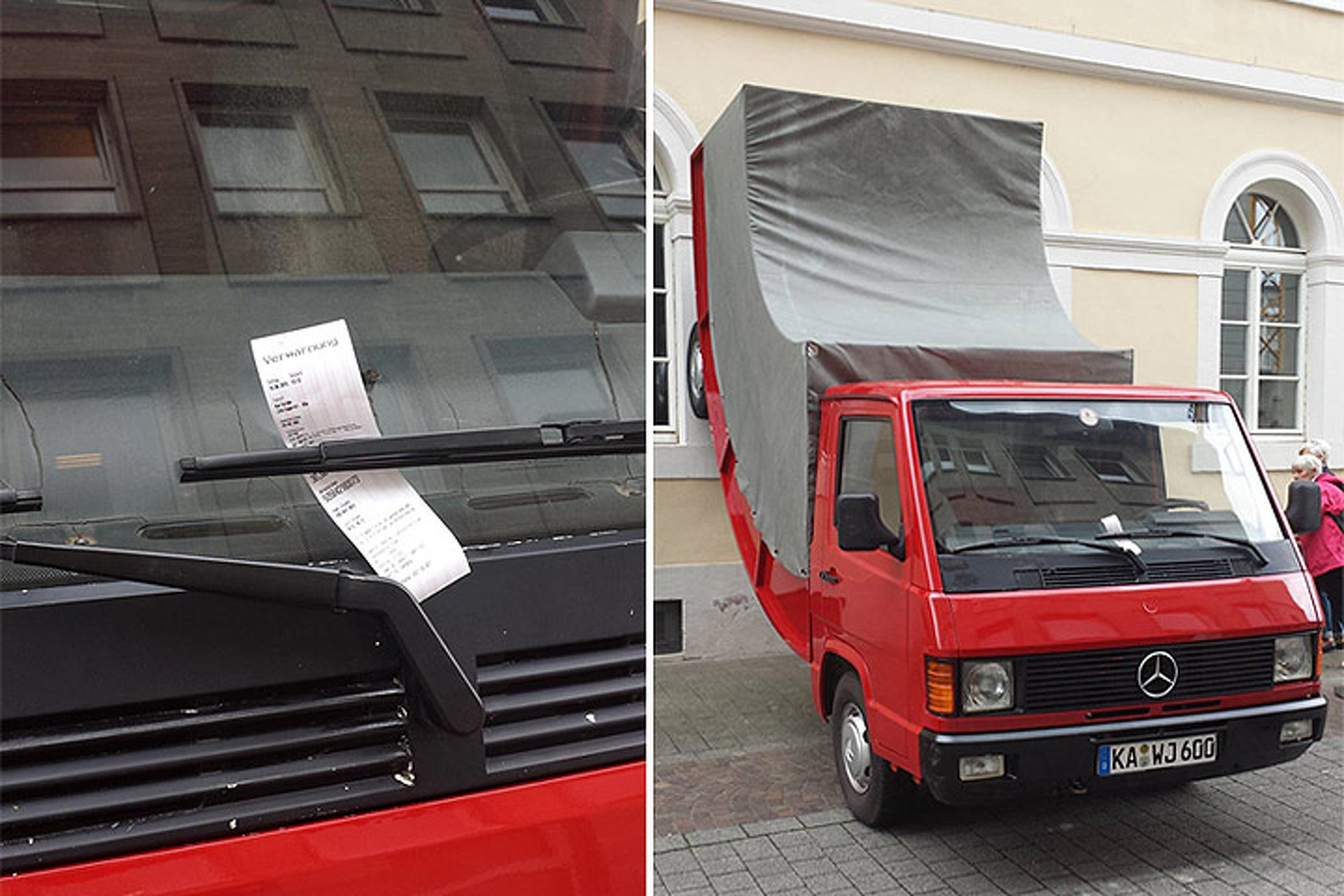 Police Issue Parking Ticket to a Mercedes Art Exhibit