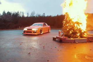 Watch this Nissan S13 Drift Around a Burning Christmas Tree