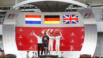Podium- race winner Nico Rosberg, Mercedes AMG F1, second place Max Verstappen, Red Bull Racing, third place Lewis Hamilton, Mercedes AMG F1 and Andrew Shovlin, Mercedes AMG F1 Engineer