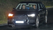 2016 Audi Q7 spied in the night with very thin camouflage and matrix LED headlights