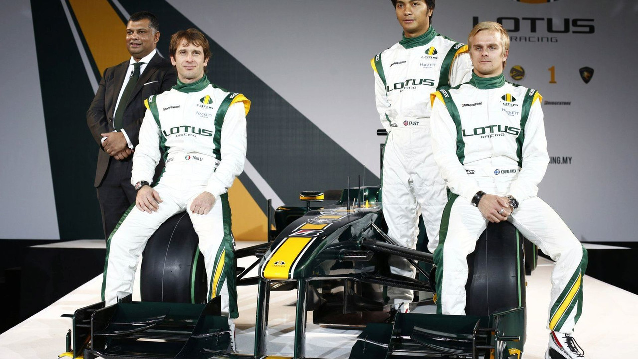Tony Fernandes (MAL), Malaysia Racing Team Principal, Jarno Trulli (ITA), Fairuz Fauzy (MAL) and Heikki Kovalainen (FIN) - Lotus Cosworth Racing Launch - Formula 1 launch, 12.02.2010, London, England