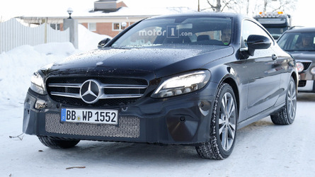 Mercedes C-Class Coupe facelift spied with new headlights