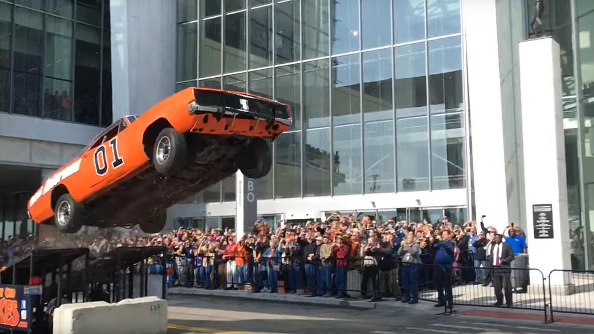 big surprise general lee wrecked  stunt jump  detroit streets